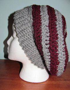 f4f18d60e3d Striped Crocheted Slouchie Hat. Slouchy BeanieCrochet CraftsCrochet Projects Knit ...