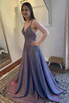 Blue v neck long A line prom dress evening dress cg21178 – classygown