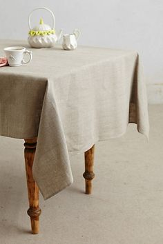 Oatmeal Linen Tablecloth #anthropologie