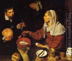 Old Woman Frying Eggs 1618 by Diego Rodriguez de Silva y Velazquez