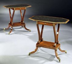A PAIR OF REGENCY MAHOGANY SIDE TABLES