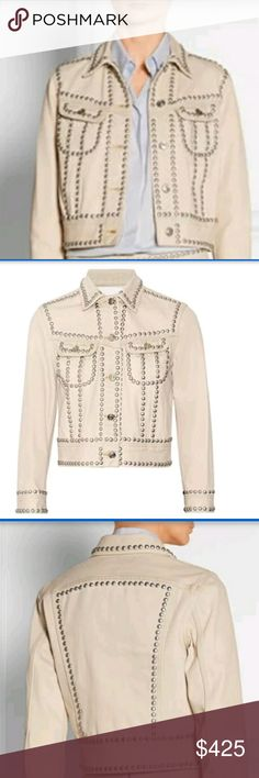 COACH Studded Denim Jacket Coach reworks the classic denim jacket with utility-inspired silver stud embellishments. This beige style is cut for a flattering, close fit. Button fastenings through front. 100% cotton. Machine wash. Designer color: Light Denim. Coach Jackets & Coats Jean Jackets