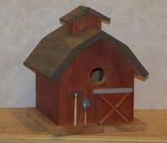 Weathered Red Barn Birdhouse by Garythecarpenter on Etsy, $32.00