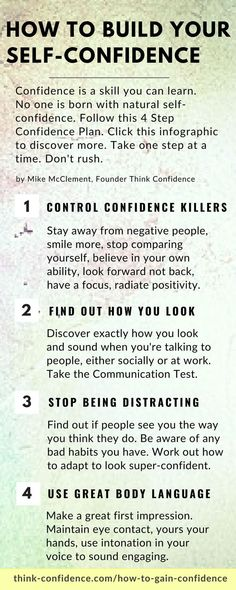 How to Gain Confidence in 4 Logical Steps Think Confidence How to build confidence Confidence building made easy using this 4 Step Confidence Plan Click infographic to discover more confidence selfconfidence confident selfesteem infographic infographics Self Confidence Tips, Confidence Quotes, Confidence Building, How To Build Confidence, Gaining Confidence, Increase Confidence, Confidence Coaching, Life Coaching, Self Development