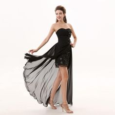 Charming Black Sheath Prom Dresses Chiffon Sweetheart Evening Gowns With Flower And Pleats