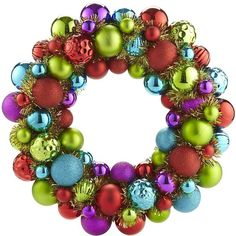 Pier 1 Imports Ornament Wreath - Multi ($9.98) ❤ liked on Polyvore featuring home, home decor, holiday decorations, christmas, wreaths, fillers, other, christmas ball wreath, holiday ornament and xmas ornaments