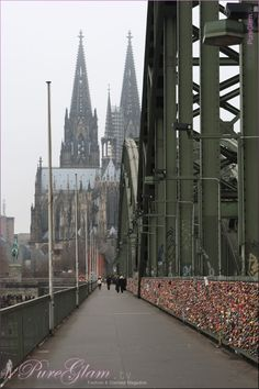 Cologne Cathedral - Kölner Dom - from Hohenzollern-Bridge/Brücke with colorful locks - Cologne/Köln, Germany/Deutschland