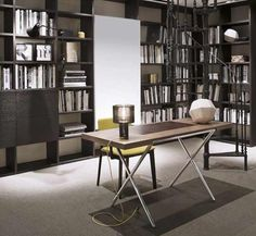 #Noveli is a Polished chromed steel frame desk with canaletto walnut top.