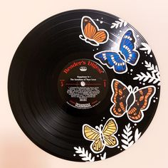 Excited to share this item from my shop: Butterfly Painted Record - Hand painted vinyl records/wall decor/painted record/custom wall art Record Decor, Record Wall Art, Vinyl Records Decor, Records Diy, Cd Wall Art, Art Cd, Aesthetic Painting, Ideias Diy, Vinyl Art