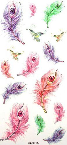 "Tattoo size 7.28""x3.54"" fake temp tattoos long last and non toxic sexy cartoon feather eye. Safe and non-toxic design ideal for body art. Professional grade made to last 3 to 5 days and easily transferred by water. Perfect for vacations, girls night, pool parties, bachelorette parties, or any other event you want to look glamorous."