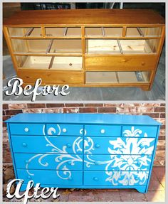 beautiful stenciled dresser #diy,,so want to do this but use for entry storage or tv console