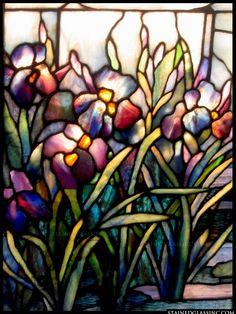 """Tiffany Iris Panel"" Stained Glass Window"