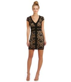 Almost bought this earlier today bc it was so flattering and on sale, but not sure when I would ever get to wear it :(  B. Darlin V-Neck Lace Sheath Dress