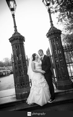 Bride and groom in Jackson Square for portraits after wedding
