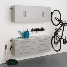 Garage Storage Cabinets, Wood Storage, Storage Rack, Storage Organization, Storage Systems, Storage Shelves, Kitchen Storage, Storage Ideas, Grey Laminate