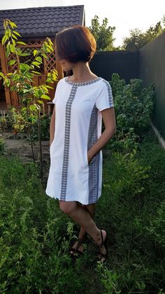 Ukrainian women shift dress Vyshyvanka, Fashion streetwear white tunic with black embroidery, Cotton womens clothing, Made in Ukraine - African traditional dresses Simple Dresses, Casual Dresses, Fashion Dresses, Summer Dresses, Shift Dresses, Mode Streetwear, Streetwear Fashion, Clothing Patterns, Dress Patterns