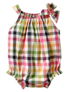 Road Trip - baby gap - Plaid bubble one-piece Baby Girl Fashion, Toddler Fashion, Kids Fashion, Sewing For Kids, Baby Sewing, Baby Girl Dresses, Baby Dress, Girly Outfits, Kids Outfits