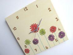 Children's Wall clock  Daisy flowers clock Hand by Shellyka, $30.00