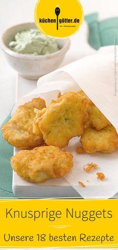 Wir zeigen dir 18 tolle Rezepte für knusprige #Nuggets. Von #Fisch-Nuggets, über #Chicken-Nuggets bis hin zu #Veggie-Nuggets - hier ist für jeden Geschmack etwas dabei.