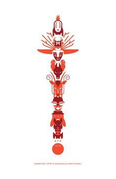 Studio Ghibli mât totémique Poster par CrystalOicleCreative sur Etsy, $15.00
