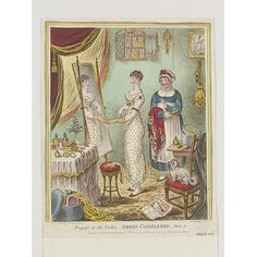 1810  'Progress of the Toilet – Dress Completed' by James Gillray (1757-1815)  Etching, coloured by hand.  vam.ac.uk
