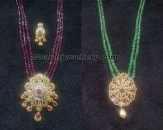 Ruby Beads Set with Uncut Diamond Pendant