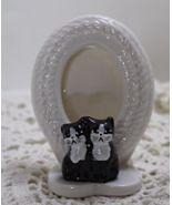 Vintage Porcelain Free Standing Oval Black & Wh... - $10.00