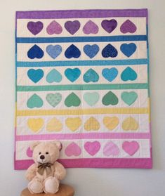 : Handmade Baby Quilt, Applique Hearts Quilt, Baby Shower Gift, Baby Blanket, Nursery Bedding, Wall hanging, Baby Christmas, Gender Neutral Baby Patchwork Quilt, Quilt Baby, Rainbow Theme, Rainbow Colors, Handmade Baby Quilts, Thing 1, Quilt Labels, Hand Applique, Baby Boy Or Girl