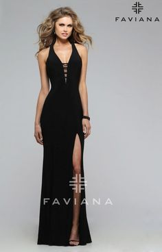 We are in love with this super stylish Faviana 7540 gown! With a touch of simplicity and elegance, you will definitely stand out at your next event! The deep v-neck of this gown is fitted with a sheer panel and overlayed with narrow straps. The strap work continues to the back of the evening gown where they dissect a large cutout. Top this look off with statement jewelry of your choice to make this gown complete. Perfect for a prom or military ball!
