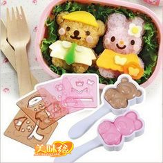 Free Shipping Kawaii Dressed Up Doll Rice Cake Mould Set Sushi Rice Mold Mould Seaweed Cutter Bento Set Retail $10.59