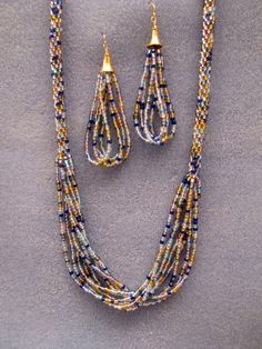 Kumihimo necklace with earrings from Deborah Heilborn My Hand Made Pinterest Board