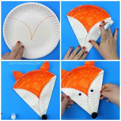 "Supplies Needed: Paper plate Orange marker or paint Glue/Scissors Black pom pom Googly eyes White card stock paper Start by coloring a ""V"" shape on the paper plate with orange marker or paint… Daycare Crafts, Toddler Crafts, Preschool Crafts, Fox Crafts, Easy Crafts, Arts And Crafts, Easy Diy, Paper Plate Animals, Paper Plate Crafts For Kids"