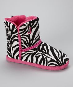 Black  Pink Zebra Sequin Boot Slipper - Women | Daily deals for moms, babies and kids