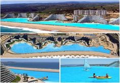 The largest swimming pool in the world is at San Alfonso del Mar in Chile. A staggering 1,000 meter long pool that covers 19 acres! There are loads of new fun water games and toys available, just right for this pool! Click here to go there!