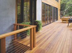 A good deck should seamlessly be an extension of the home. What should also be seamless is the deck install itself. We source premier wood for decking and mill the side grooves for hidden clips. You can thank us later. Wood Deck Tiles, Hardwood Decking, Deck Flooring, Outdoor Flooring, Cool Deck, Diy Deck, Best Decking Material, Deck Framing, Patio Railing