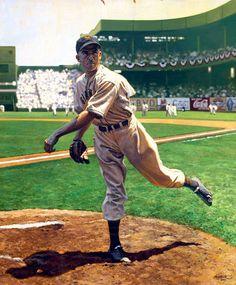 Carl Hubbell - The timeless baseball art of Graig Kreindler Baseball Series, Baseball Posters, Baseball Art, Baseball Photos, Baseball Field, Baseball Stuff, Sports Posters, Giants Baseball, Baseball Painting