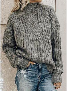 Women Long Sleeve Turtleneck Cotton-blend Plus Size Sweaters, Green / XXL Plus Size Sweaters, Casual Sweaters, Pullover Sweaters, Sweaters For Women, Women's Sweaters, Cardigans, Casual Tops, Pullover Pullover, Winter Sweaters