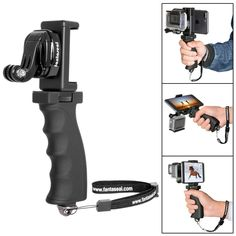 Fantaseal Ergonomic Action Camera Grip Mount Handheld Stabilizer Support Action Camera Handle Steadycam Selfie Stick w/ Smartphone Clip (UP TO 5.5' Screen) for GoPro Hero etc (Improved Version) * Want to know more, click on the image. (This is an Amazon Affiliate link and I receive a commission for the sales)