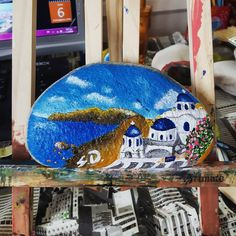 Greek island landscape and church on grey pebble!   What do you think? #art #paintedstones #painting #drawing #greece #kyklades #aegean #sea #island #blue #white  FACEBOOK : SDArt