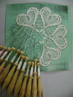 Bobbin lace making Antique Lace, Vintage Lace, Lace Beadwork, Bobbin Lacemaking, Bobbin Lace Patterns, Lace Heart, Point Lace, Tatting Lace, Linens And Lace