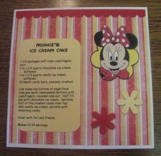 Disney Recipe Swap by NancyLuvsMickey - Cards and Paper Crafts at Splitcoaststampers Disney Themed Food, Disney Inspired Food, Disney Food, Walt Disney, Disney Dishes, Disney Desserts, Disney Recipes, Retro Recipes, Old Recipes
