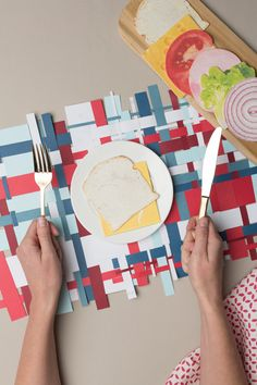 4th of July paper woven placemat