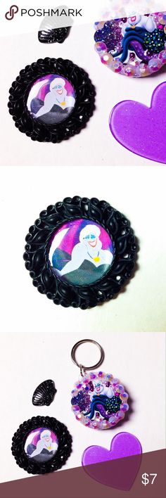"""🆕 Ursula Brooch Handmade brooch with a sealed image of Ursula framed in a black charm.   We offer 15% off on all bundles. You can """"Add to Bundle"""" to get discount.  Most items listed are ready to ship but if you need something sooner please let us know before ordering.  Other pieces are also available in my closet. Thank you for shopping my closet! Magic Main Street Jewelry Brooches"""