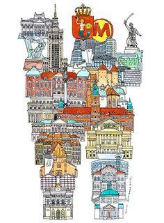 Warsaw - ABC illustration series of European cities by Japanese illustrator Hugo Yoshikawa