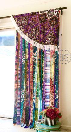 Items similar to Gypsy curtain valance Bohemian Dorm Decor Hippie-Boho Glamping-Morrocan-Indie-Mandala Tapestry Purple w/ Fringe rod pocket on Etsy