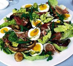 Try this tasty and impressive looking ham and mushroom salad you can prepare ahead - a perfect dinner party starter by Gary Rhodes for BBC Good Food. Bbc Good Food Recipes, Healthy Recipes, Healthy Food, Ham Salad Recipes, Dinner Party Starters, Mushroom Salad, Yellow Foods, Recipe Cover, Dairy Free Diet