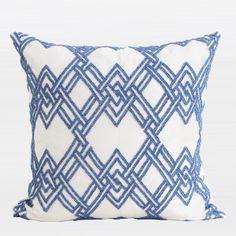 Blue Handmade Tri-Dimensional Check Beaded Pillow