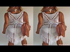 Como hacer vestido de playa tejido a crochet. - YouTube
