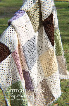 @ the stitch pattern: beautiful cotton blanket - Shari explains how to make the SC granny squares and the border