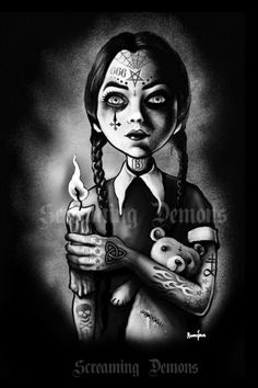 Gothic Art , Tattooed, Tattoo, Evil Wednesday Art Poster print by Marcus Jones